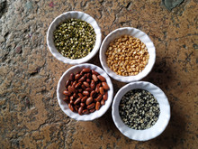 Prepared Pulses For Cooking On The White Bowl Isolated On Stone Background
