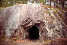 Black Hole In Rock Wall, Entrance To The Cave In Spro, Old Mineral Mine. Nesodden Norway. Nesoddtangen Peninsula.