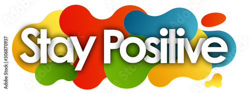 Fotomural Stay Positive in color bubble background