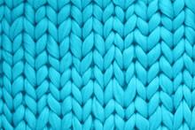 Texture Of Blue Wool Big Knit Blanket. Large Knitting. Plaid Merino Wool. Top View