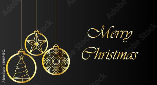 Photo Postal de navidad de fondo negro y trazos dorados con bolas de navidad con un pino, una estrella y un copo de nieve