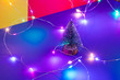Leinwanddruck Bild - toy christmas tree. Christmas tree on a colored background