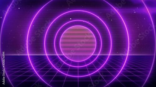 Foto auf Leinwand Violett 80s Retro Sci-Fi Background Futuristic Grid landscape. Digital cyber surface style of the 1980`s. 3D illustration