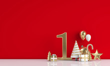 The 12 Days Of Christmas. 1st Day Festive Background. 3D Render