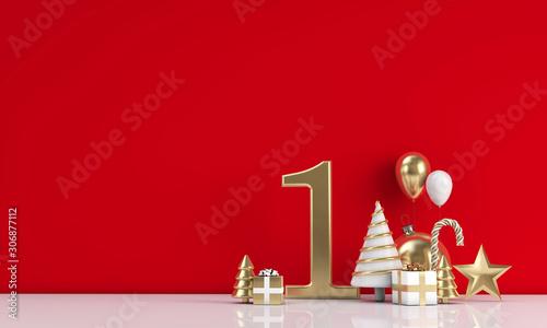 Autocollant pour porte Pain The 12 days of christmas. 1st day festive background. 3D Render