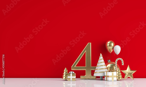 Autocollant pour porte Pain The 12 days of christmas. 4th day festive background. 3D Render
