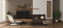 Modern Living Room With Firepl...