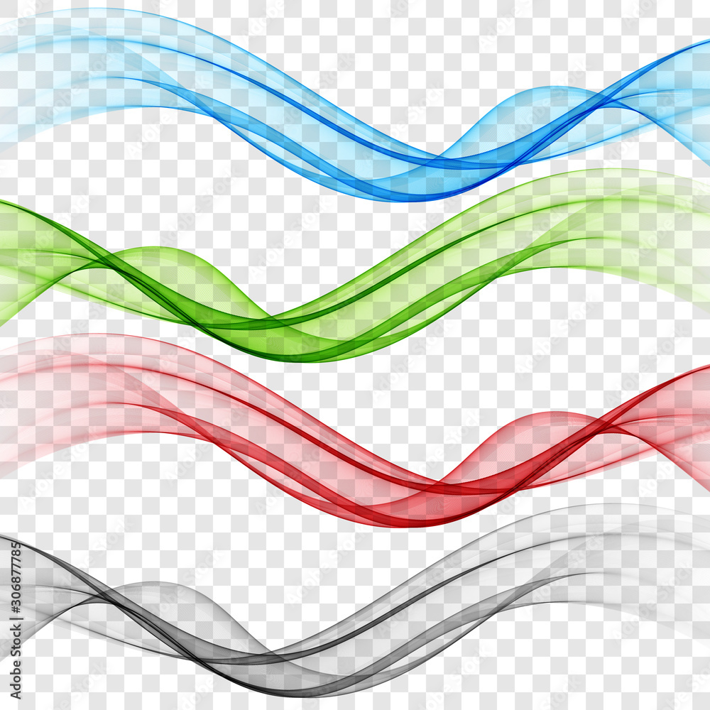 Set abstract color wave smoke transparent smooth vector colorful lines