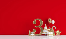 The 12 Days Of Christmas. 3rd Day Festive Background. 3D Render