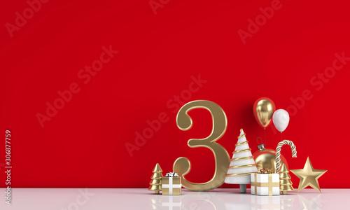 Obraz The 12 days of christmas. 3rd day festive background. 3D Render - fototapety do salonu