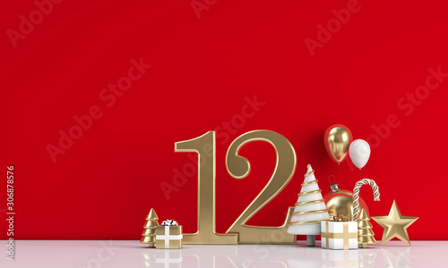 The 12 days of christmas. 12th day festive background. 3D Render Canvas-taulu
