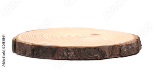 Valokuva Cross section of tree trunk, stump, isolated on white background