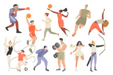Set Of Vector Illustrations Of People Involved In Different Sports