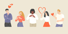 Set Of Vector Illustrations Of Young People Showing Hearts With Gestures Or Dreaming Of Love.
