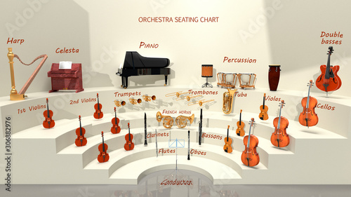 Fotografia Orchestra seating chart - musical instrument positions