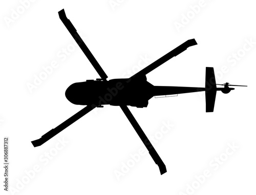 Photo Black hawk helicopter vector silhouette