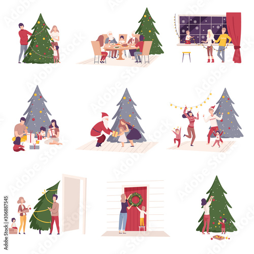 Fototapeta Happy People Preparing and Celebrating Winter Holidays, Men, Women and Kids Decorating Christmas Tree, Giving Gifts, Sitting at Festive Table Vector Illustration obraz