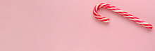 Single Candy Cane On Pink Back...