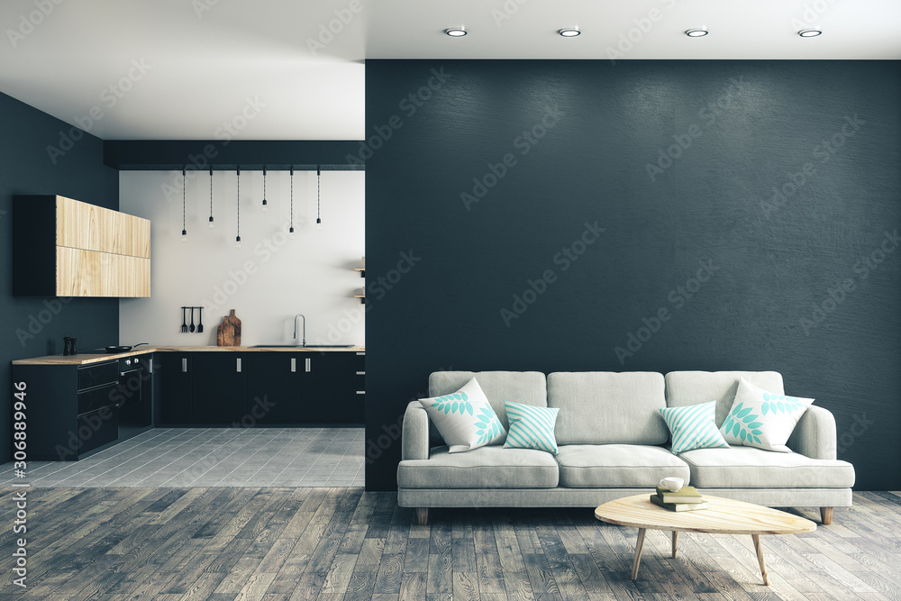Fototapeta Modern studio kitchen interior