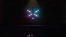 3D Rendering Of Blue Violet Neon Symbol Of Asterisk Icon On Brick Wall