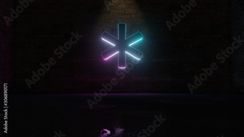 3D rendering of blue violet neon symbol of asterisk icon on brick wall Canvas Print