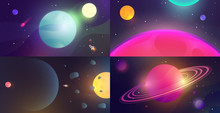 Colorful Cartoon Planets And Deep Space In Flat Style. Bright Cute Science Astronomical Composition. Fantasy Sci-fi Template For Games Or Branding Design. Vector Illustration.
