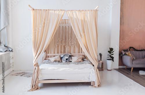 Obraz na płótnie Cosy light bedroom with eco decor