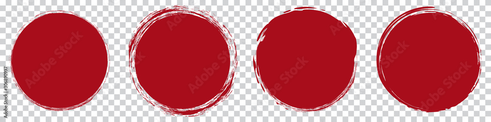 Fototapeta red round brush painted circle banner on transparent background
