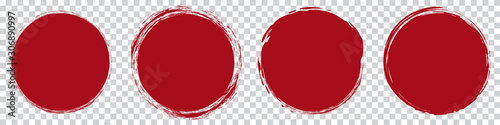 Valokuvatapetti red round brush painted circle banner on transparent background