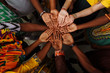 canvas print picture - Palms up hands of happy group of multinational African, latin american and european people which stay together in circle