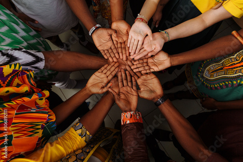 Fotografija Palms up hands of happy group of multinational African, latin american and europ