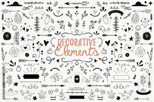 Big collection of decorative elements: banners, arrows, leaves, flowers, flouris Fototapeta