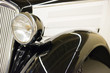 Retro black car headlight from old vintage auto exhibition