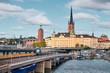 canvas print picture - The Landscape of Stockholm city with railway, Sweden
