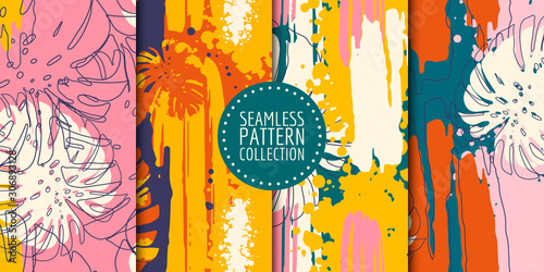 Abstract shapes seamless pattern collection. Vector design for paper, fabric, interior decor and cover