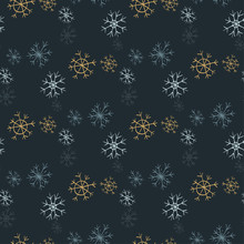 Christmas And New Year. Gold, Light Blue And Navy Blue Snowflakes. Seamless Vector Pattern On A Blue-black Background.