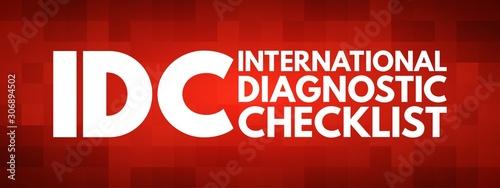 Valokuva IDC - International Diagnostic Checklist acronym, business concept background