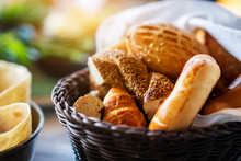 A Delicious Bread And Bakery Basket Fo A Healthy Breakfast
