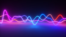 Colorful Bright Neon Glowing Graphic Equalizer. Ultraviolet Signal Spectrum, Laser Show, Energy, Sound Vibrations And Waves. 3d Illustration