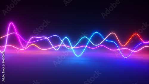 Colorful bright neon glowing graphic equalizer Wallpaper Mural