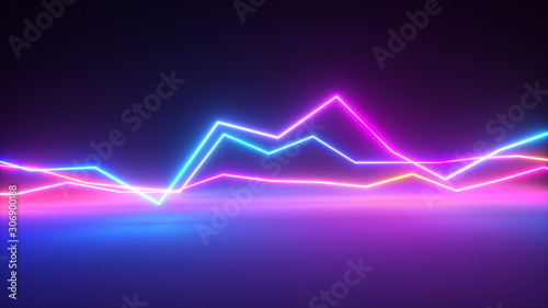Photo Bright colorful glowing neon lines