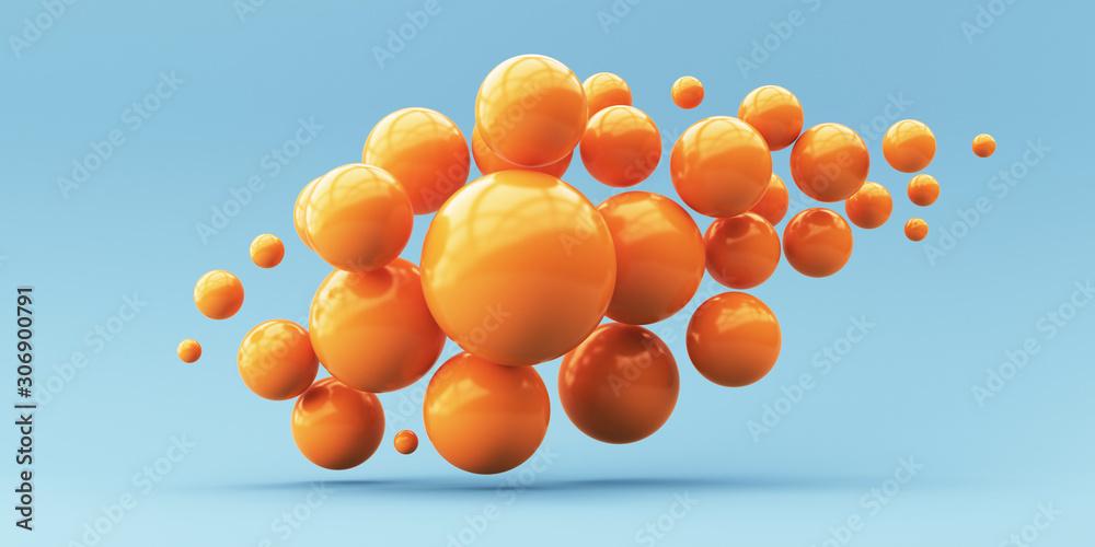 Fototapeta 3d render illustration for advertising. Falling orange balls in the blue background.