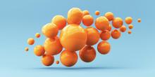 3d Render Illustration For Advertising. Falling Orange Balls In The Blue Background.