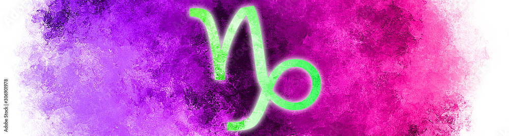 Fototapeta Isolated symbol of the zodiac sign Capricornus with a banner of paint in the background