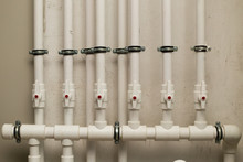 Clean Line White Water Pipes Watering System Pipe Engineer Design In Underground. Plastic White Pipe Heating Manifold
