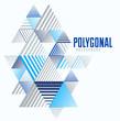 Polygonal low poly vector abstract design, artistic retro style background for ads or prints, cover or poster, banner or card. Linear 3D triangles and cubes elements.