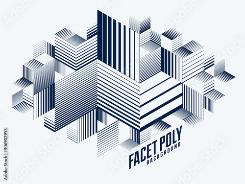 Fototapety, obrazy: Abstract polygonal background with stripy triangles and 3D cubes vector design. Template for different advertising or covers or banners. Retro style graphic element.