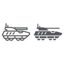 Armoured Personnel Carrier Line And Glyph Icon, Army And Military, Tank Sign, Vector Graphics, A Linear Pattern On A White Background.