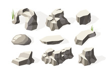 Stones Isometric. Broken Architecture Rocks Mineral Elements Stones Surface Vector Collection. Illustration Natural Geology, Broken Stone Material