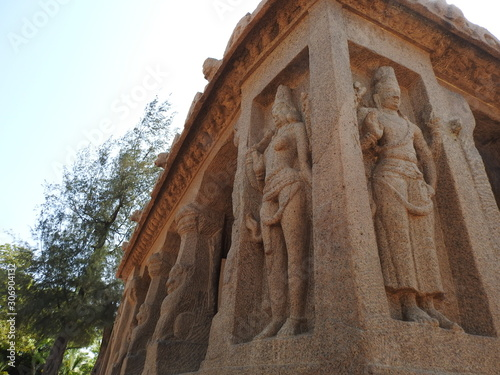 Fotografie, Obraz Panch Rathas Monolithic Hindu Temple in Mahabalipuram Five ratha temple in tamil nadu